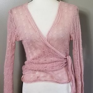 VINTAGE Pink Cashmere Ballerina wrap top Small